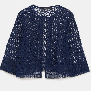 Lace crochet cut out navy jacket outer shell shrug